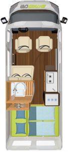 Vermietung Wohnmobile + Caravans | Klasse 1 | Grundriss