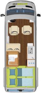 Vermietung Wohnmobile + Caravans | Klasse 2 | Grundriss