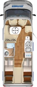 Vermietung Wohnmobile + Caravans | Klasse 4 | Grundriss